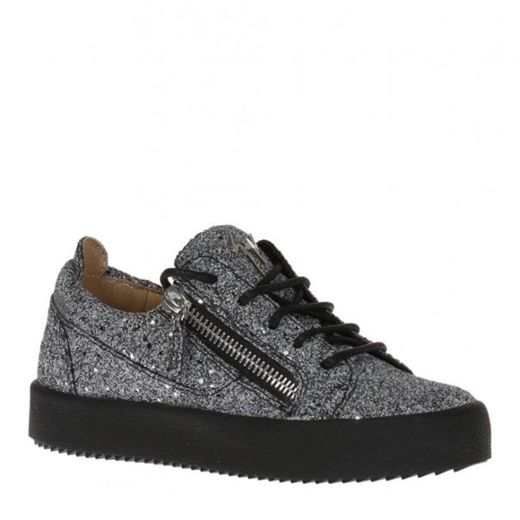 Giuseppe Zanotti Fabric and leather sneaker with glitter GAIL GLITTER